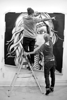 Shooting before sending the painting to Amsterdam… Photo courtesy of Sanna Eriksson©.