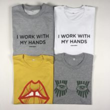Graphic illustration on t-shirts and sweats.