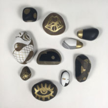 Handpainted stones from the northern Sweden and southern France.