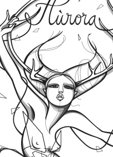 "Illustration of the northern goddess ""Aurora Borealis"" for Luleå based DesignLabland. 2013."